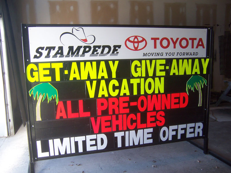 Vacation give-away sign
